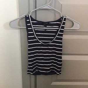 Forever 21 Navy Striped Crop Top